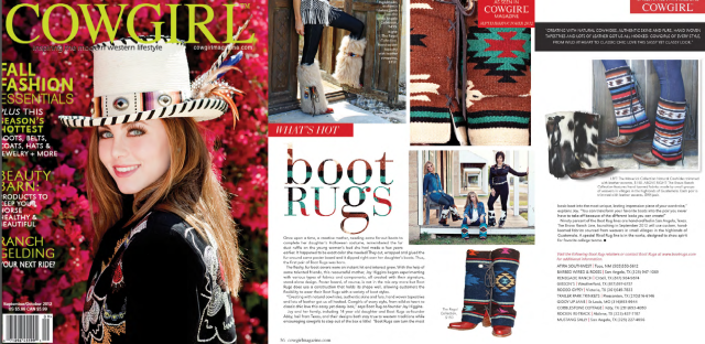 www.bootrugs.com in the Fall 2012 edition of Cowgirl Magazine